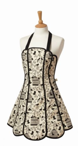 Vintage Bird Cages Panelled Apron by Belle Textiles